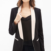 Colorblocked Shawl Collar Blazer