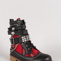 Studded Chained Plaid Ankle Bootie