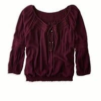 AEO Women's Cropped V-neck Top
