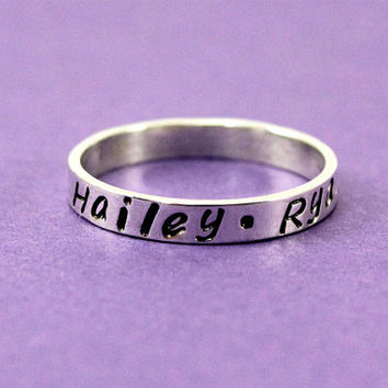 Personalized Sterling Silver Ring - Hand Stamped Ring- Mother Ring - Name Ring - Couples Ring - Custom Engraved Ring