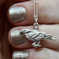 Raven Bird Necklace - Sterling Silver Raven Pendant . Sterling Silver Satellite Chain . Edgar Allan Poe . The Raven