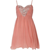 pink little mistress embellished prom dress