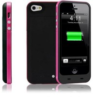 2500mAh Portable Charger Chargeable Power Bank Backup Case External Power Backup Battery For iPhone 5 5S (Pink)