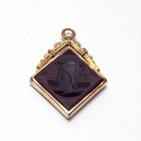 Vintage Onxy and Carnelian Intaglio Pendant