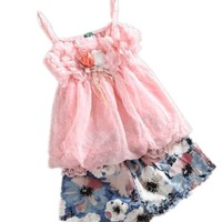 Baby Girl Summer Braces Skirt Top Shirt Short Pants Outfit Clothes Dresses
