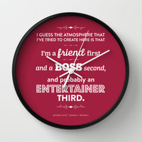 The Office Michael Scott Quote Season 1 Episode 1 - Friend First - Burgundy & White Wall Clock by Noonday Design
