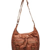 Slouchy Faux Leather Hobo Bag   Wet Seal