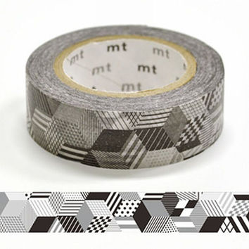 Box Monochrome - DECO Series - Japanese mt Washi Paper Masking Tape - Kawaii Collage, Gift Wrapping, Decor Sticker - Chic Black & White Tape