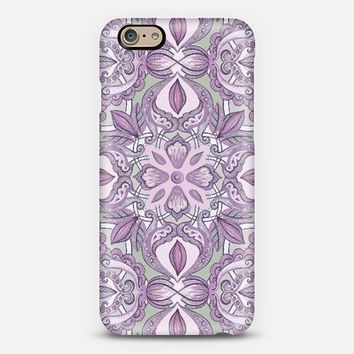 Lavender and Grey - Floral Pattern in Colored Crayon iPhone 6 case by Micklyn Le Feuvre | Casetify