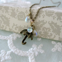 Under the rain. Sweet umbrella charm necklace. Whimsical and unique.
