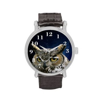 Owl and Night Sky Vintage Leather Strap Watch