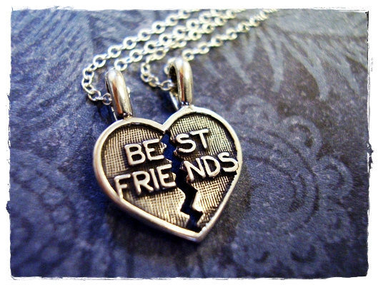 Tiny Best Friends Heart (breaks apart) Charm Necklace in Sterling Silver with TWO Delicate 18 Inch Sterling Silver Cable Chains