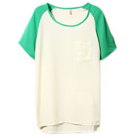 Colour Block Green-white Chiffon Shirt [NCSHX0059] - $34.99 :