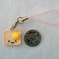 Kawaii Toast With Butter Charm with Cell Phone Strap