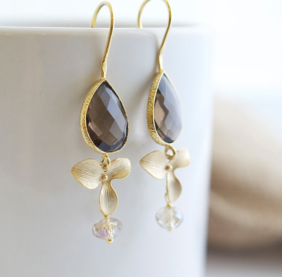 Smokey Quartz Earrings - Bezel Set Earrings - Bridal Jewelry