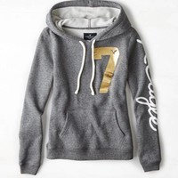 AEO 's Signature Graphic Hoodie (Charcoal Heather Grey)