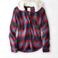 AEO 's Cozy Hooded Boyfriend Shirt (Red)