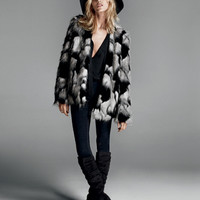 FOREVER 21 Two-Tone Faux Fur Jacket Black/Grey