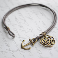 Summer Bracelet No.53-- Gray and bronze anchor bracelet with flower charm