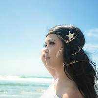 Starfish Headband - White Knobby Starfish Hippie Headwrap - Cute Adorable Beach Boho Romantic Whimsical Dreamy Sea Star - Mermaid Collection