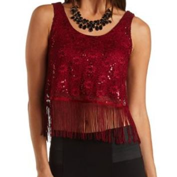 Sequin & Lace Fringe Crop Top by Charlotte Russe - Burgundy