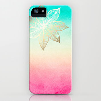 Gold Flower on Turquoise & Pink Watercolor iPhone & iPod Case by Tangerine-Tane