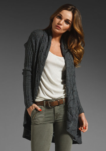 Autumn Cashmere Tweed Pointelle Oversize Drape Cardigan in Magma from REVOLVEclothing.com