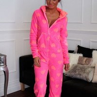Care Bear Pink Supersoft Heart Print Onesuit   Pink Boutique