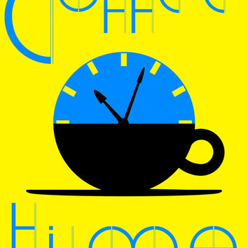Time for Coffee Pop Art Poster - coffee, cafe, time, clock, art, image, print, wall art, decor, coffee cup, morning coffee, coffee morning,