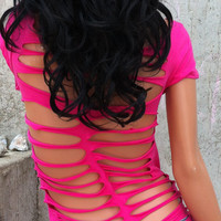 Hot Pink Shredded Shirt