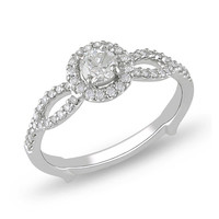 1/2 CT. T.W. Diamond Frame Split Shank Engagement Ring in 14K White Gold
