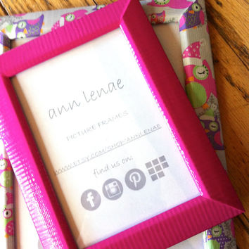 Fuchsia Pink Picture Frame | Pink Tape Covered Picture Frame