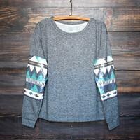 chevron sequin aztec sleeves top , charcoal women's fall winter fashion clothing's sweatshirt pull over jumper tribal southern gypsy boho