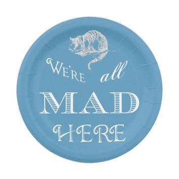 Cheshire Cat Mad Blue Paper Plate
