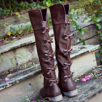 Little Bow Chic Tall Brown Riding Boots