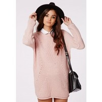 Missguided - Ashlie Knitted Sweater Dress Pink