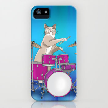 Cat Playing Drums - Blue iPhone & iPod Case by Ornaart