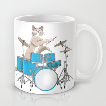 Cat Playing Drums - Blue Mug by Ornaart
