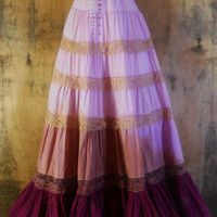 Purple maxi dress lavender  plum tea stained lace silk  tiered cotton  bohemian rose medium  by vintage opulence on Etsy