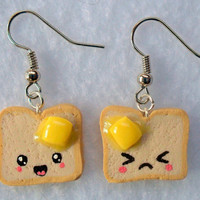 Cute Kawaii Toast Earrings, Emotions Faces with Melted Butter