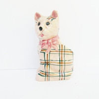 Kitsch Plaid Pink Cat Planter