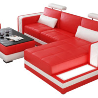 Avatar Mini Leather Sectional by Scene Furniture - Opulentitems.com