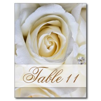 #WhiteWedding #Roses #Reception #TableNumber #Card #tableMarker  #weddngtable