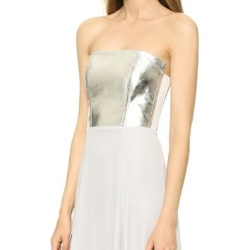 Mason by Michelle Mason Leather Bodice Strapless Gown