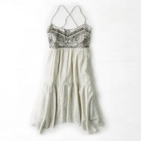 AEO Women's Printed & Embroidered Babydoll Dress