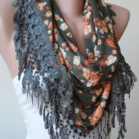 Green and Orange Flowered Scarf with Green Trim Edge -- Triangular