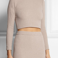 Alice + Olivia - Tess cropped stretch-cloqué top