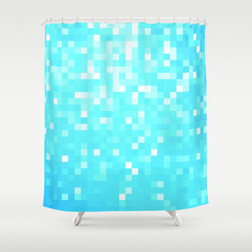 Turquoise Pixel Sparkle Shower Curtain by 2sweet4words Designs