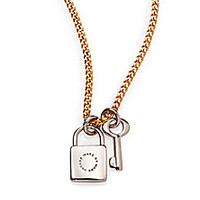 Marc by Marc Jacobs - Lock & Key Pendant Necklace/Goldtone - Saks Fifth Avenue Mobile
