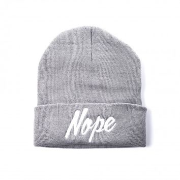 Grey Beanie Hat with Embroidered 'Nope' Wording | Accessoryo